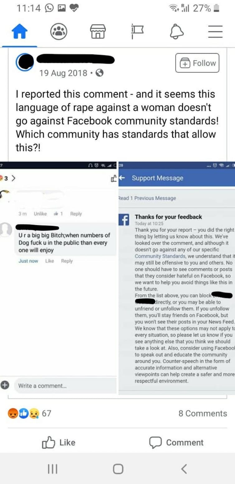 Hate speech complaint report rejected by Facebook