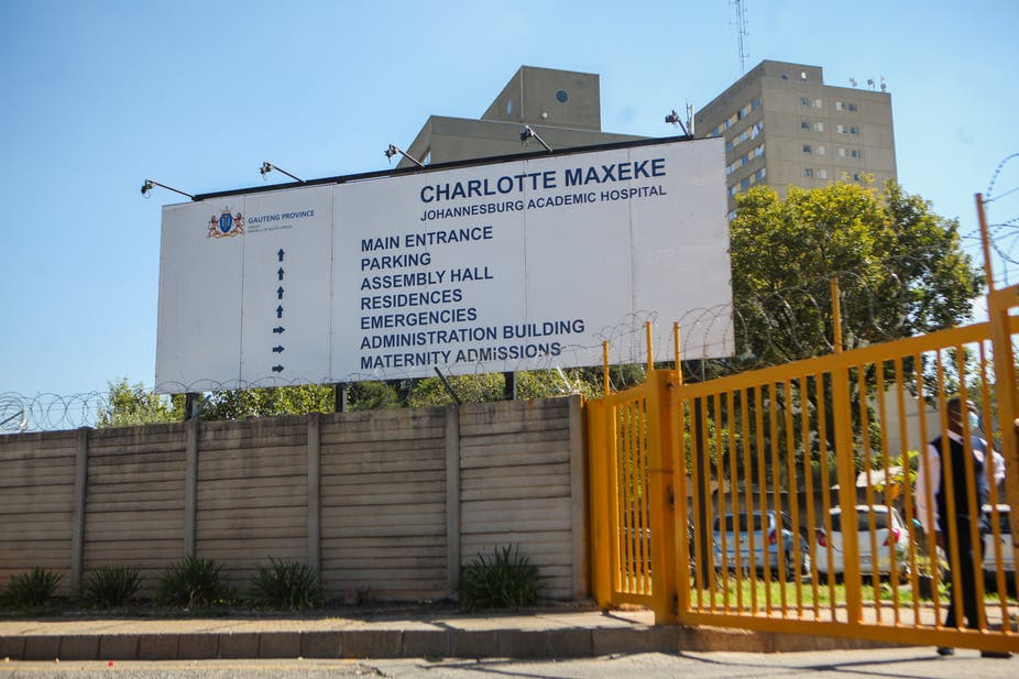 A view of Charlotte Maxeke Hospital in South Africa