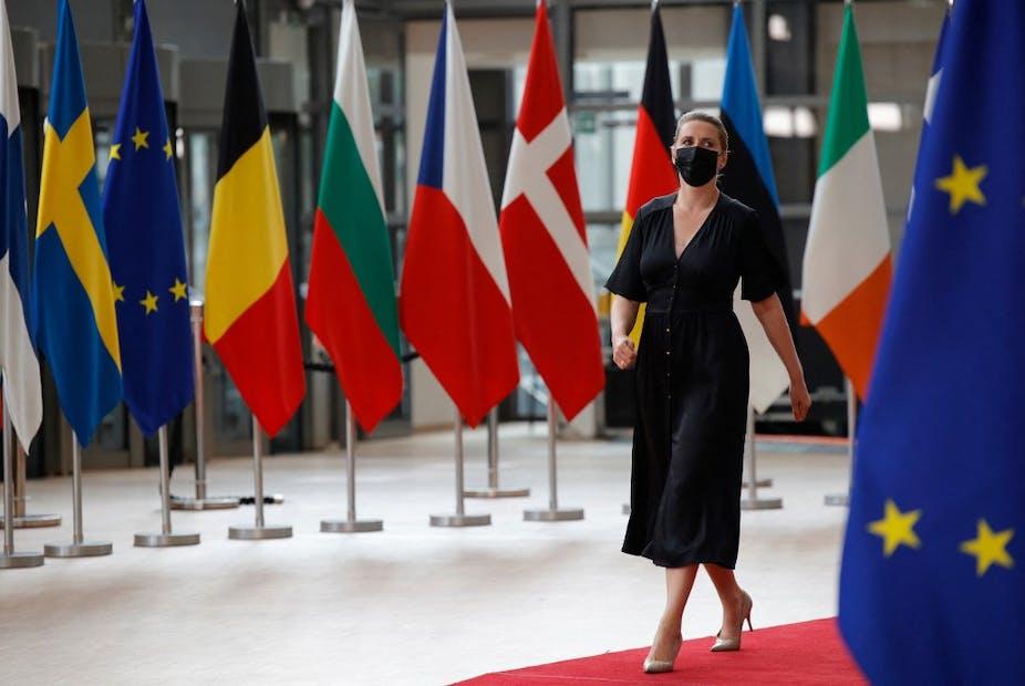 Mette Frederiksen, la première ministre du Danemark, arrive au sommet européen à Bruxelles le 25 juin 2021.