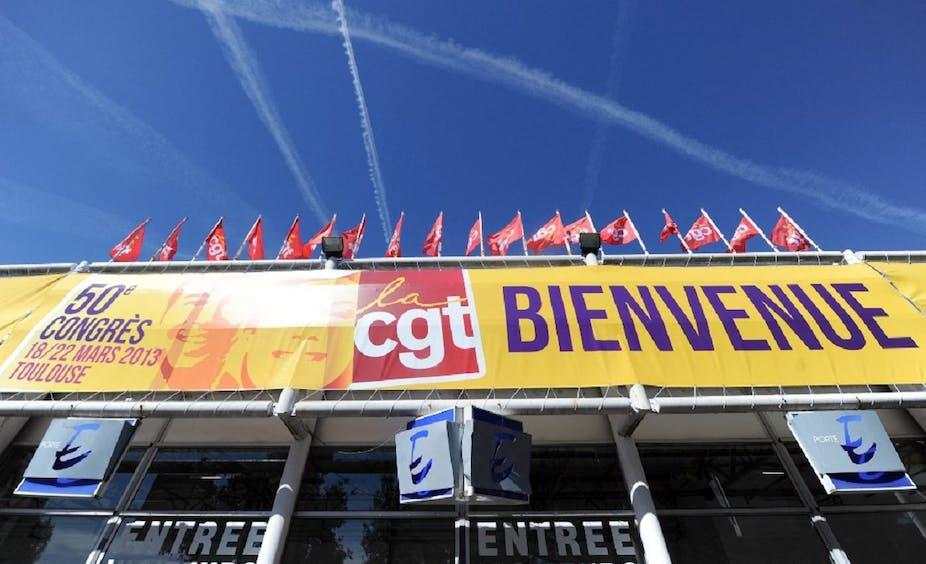 Une bannière pour le 50ème congrès de la CGT, au parc des expositions de Toulouse, en mars 2013.