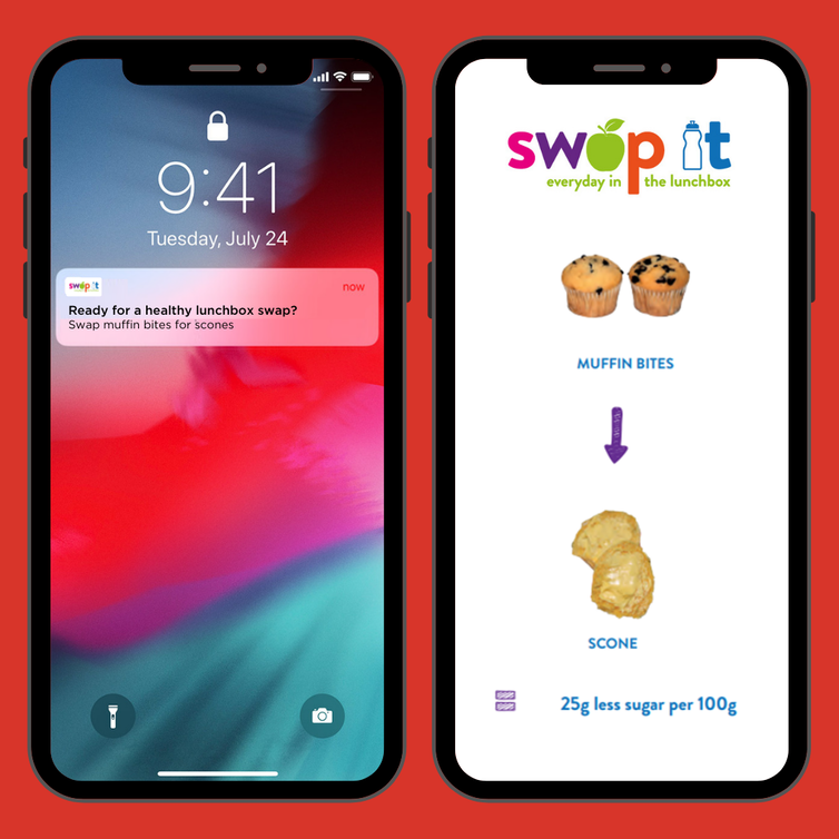Two phones side by side.  The first phone displays a SWAP IT notification.  The second phone shows an example of swapping muffin bites into scones.