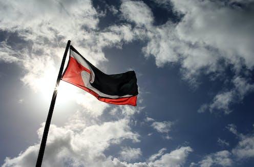 The Tino Rangatiratanga flag against a blue and cloudy sky