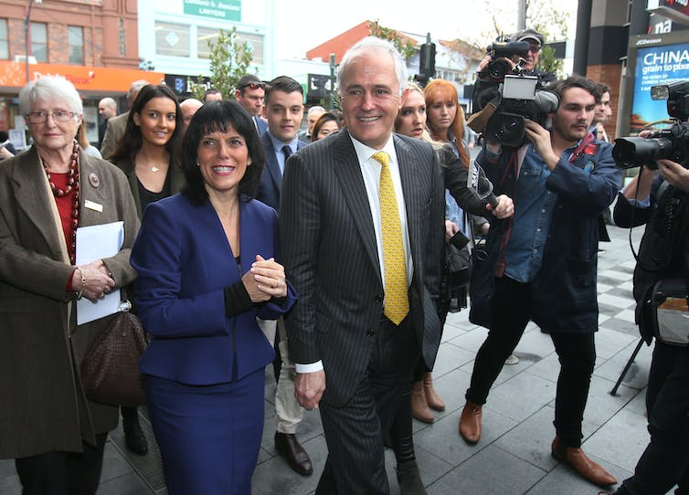 Julia Banks campaigning with Malcolm Turnbill in 2016.