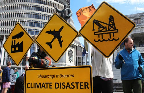 climate protest outside New Zealand's parliament building