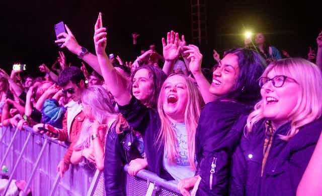 Music fans attending a gig at the Sefton Park pilot event in Liverpool, May 2021