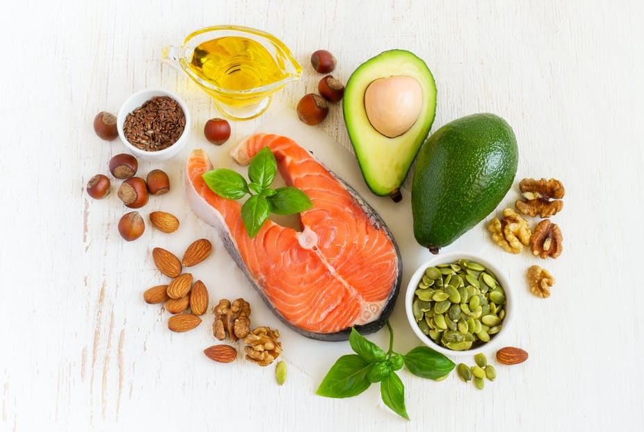 An overview of foods that contain healthy fat, such as salmon, almonds, olive oil, and avocado.