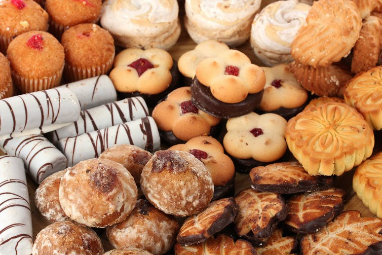 An overview of different biscuits and pastries, which are high in saturated fats.