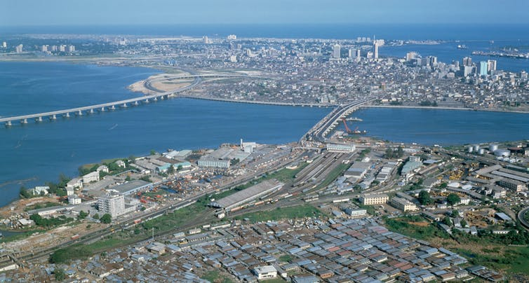 An aerial view of the Lagos city centre and shoreline