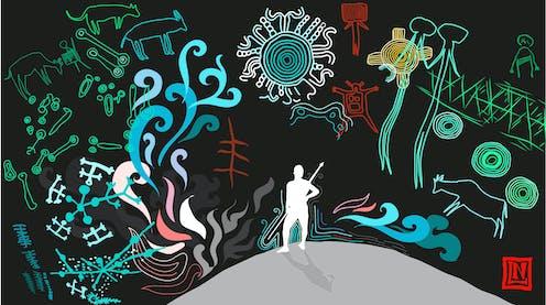 An illustration of a hunter-gatherer with prehistoric symbols