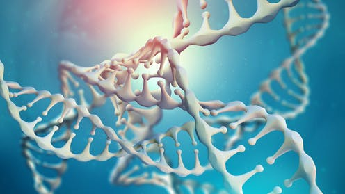 white DNA strands on a blue background