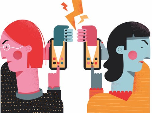 cartoon image of two women scowling and facing away from each other While holding smart phones toward each other, fists and lightning bolts clash between the two phones