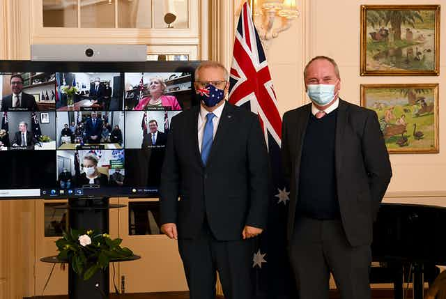 Barnaby Joyce and Scott Morrison, in front of the nationals cabinet