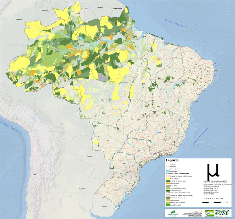 Mapa do Brasil com áreas sombreadas na Amazônia