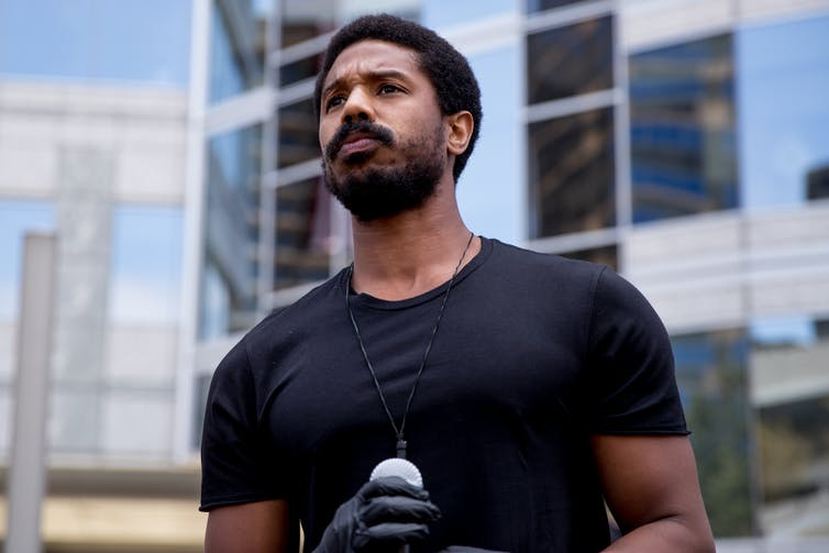 Michael B. Jordan participates in the Hollywood talent agencies' march to support Black Lives Matter protests on June 6, 2020, in Beverly Hills, California.