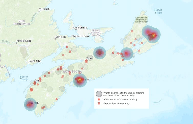 Map showing communities and toxic facilities in Nova Scotia