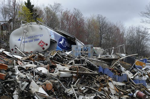Metal piled in a dump