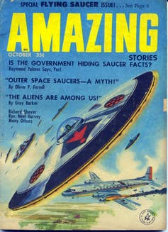 An old magazine cover showing a hand-drawn flying saucer.