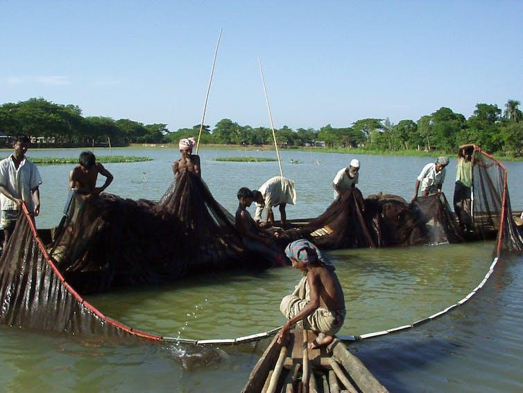 Small-scale fishermen catching fish