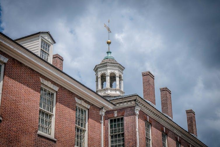 The top floor of the red brick Congress Hall in Philadelphia.