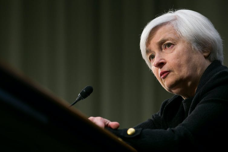 US Treasury Secretary Janet Yellen giving a speech