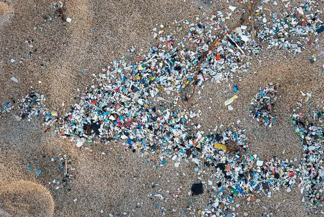 hundreds of small plastic bits in the sand