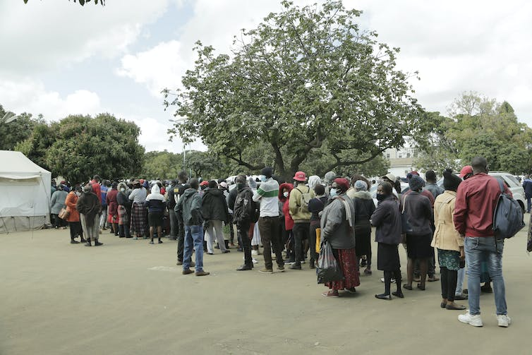 People queuing for COVID-19 vaccines in Harare, Zimbabwe