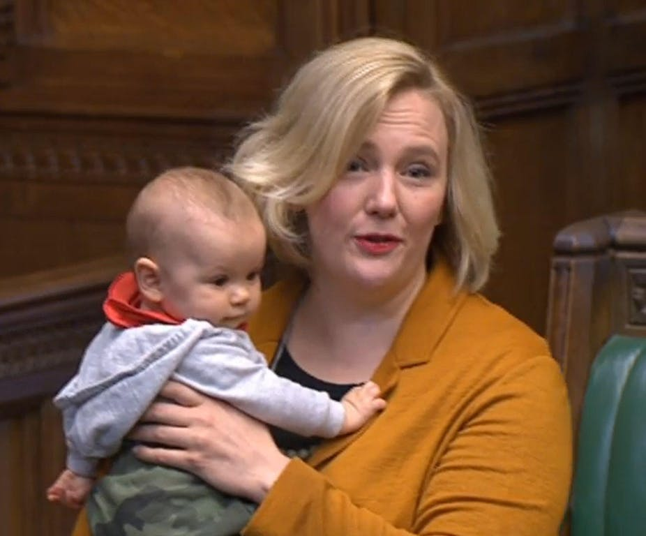 MP Stella Creasy holds her baby in the House of Commons
