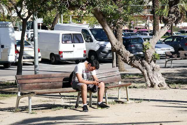 Un joven solo en el banco de un parque mirando el teléfono móvil.