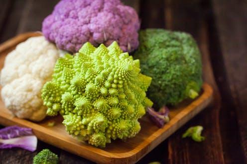 Green, white and purple cauliflowers
