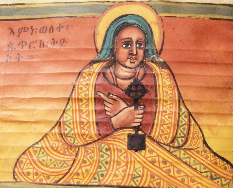 A painted portrait of the saint Walatta Petros, created between 1716-1721, prevoiusly found in the saint's montastery in Ethiopia.