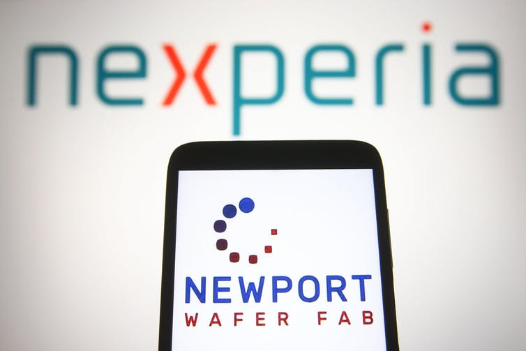 Smartphone with Newport Wafer Fab onscreen with Nexperia logo in background.