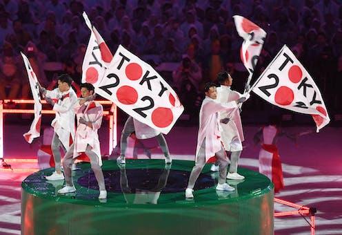 Artists perform during the Tokyo 2020 Flag Handover ceremony during the closing ceremony of the Rio 2016 Olympic games at Maracana in Rio de Janeiro