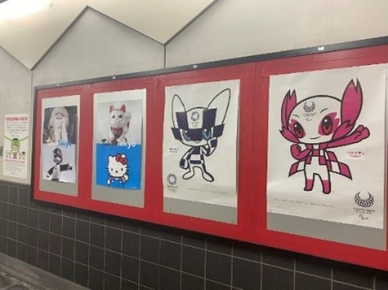 Row of posters featuring cartoon characters