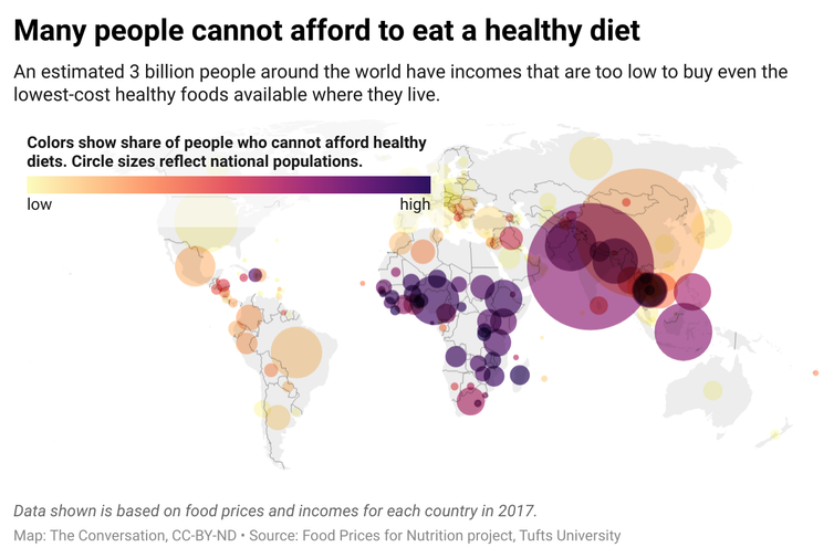 A map of the world with circles overlaid that correspond to the share of people who cannot afford healthy diets. The size of the circle corresponds to the country's population.