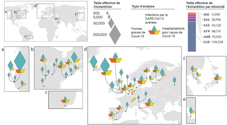 Carte présentant l'origine géographique des études utilisées dans la méta-analyse