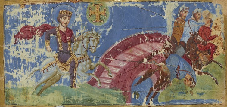 Battle image from Greek manuscript.