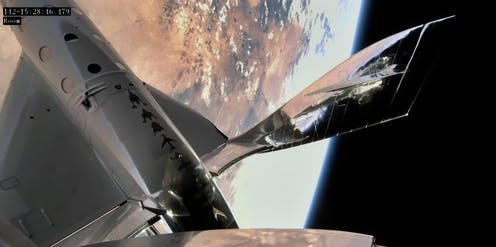 A spacecraft with a view of earth.