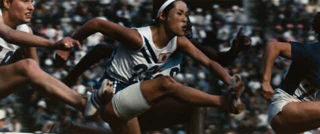 Film still: women's hurdles.