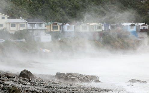 Coastal home sduring a storm