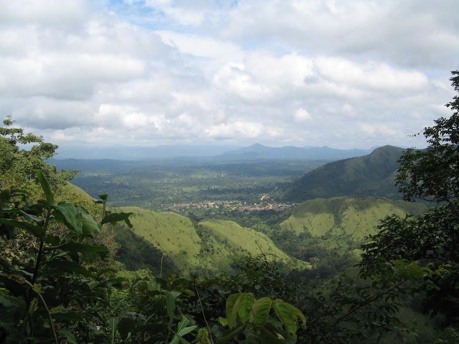 Aerial view of the Volta region border