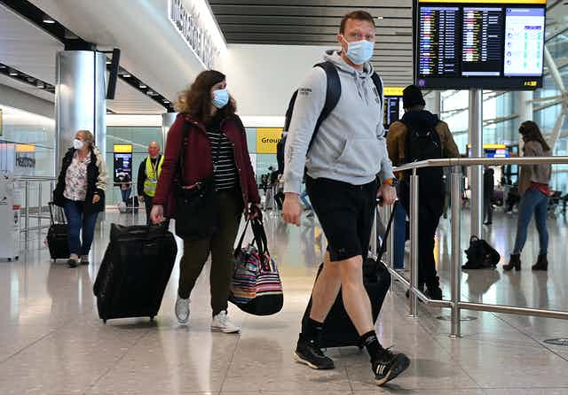 Travellers at an airport