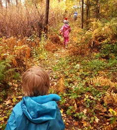 Young children in a colourful autumn leafy forest seen walking up a hill.