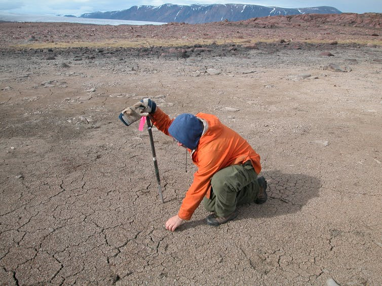 The dry bed of an evaporated pond in Arctic Canada.