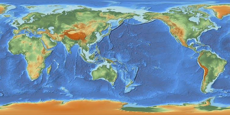 The satellite map showing the depth of ocean floor.