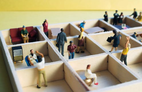 Mini people divided into small areas