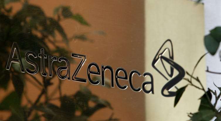 AstraZeneca sign on the side of a building.