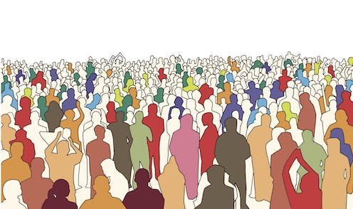 Illustration with outlines of people in a crowd