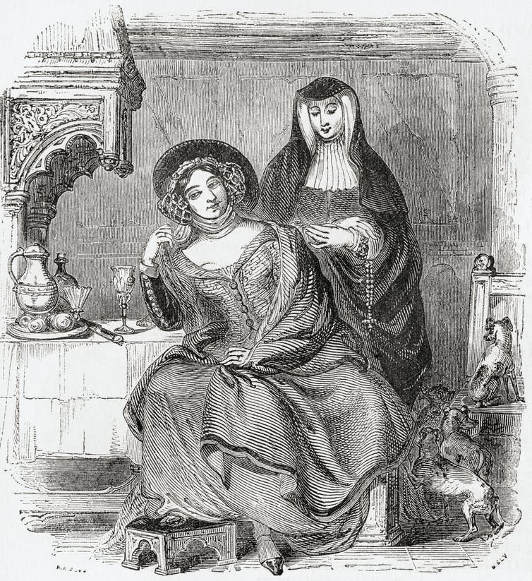 An illustration of two women characters from Geoffrey Chaucer's 'The Canterbury Tales'