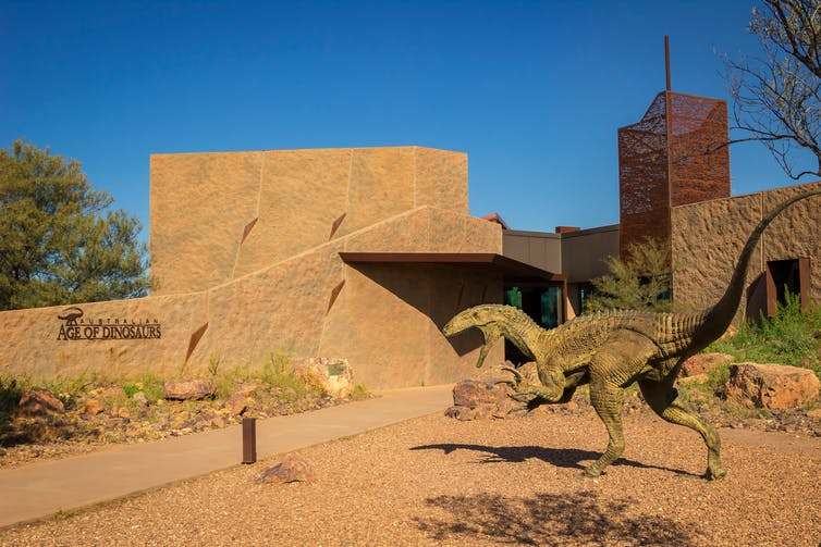 An outback museum with a dinosaur statue in front