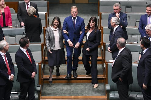 Tony Smith being dragged to the speaker chair in 2019